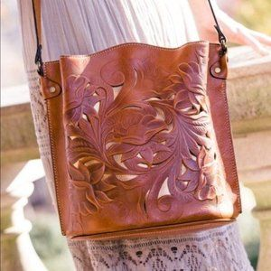 Patricia Nash Lavello Tooled Bucket Cutout Sling